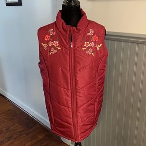 Jason Maxwell Maroon Embroidered Zip Front Vest